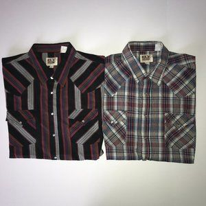 (2) Ely Cattleman Striped & Plaid Pearl Snap S/S